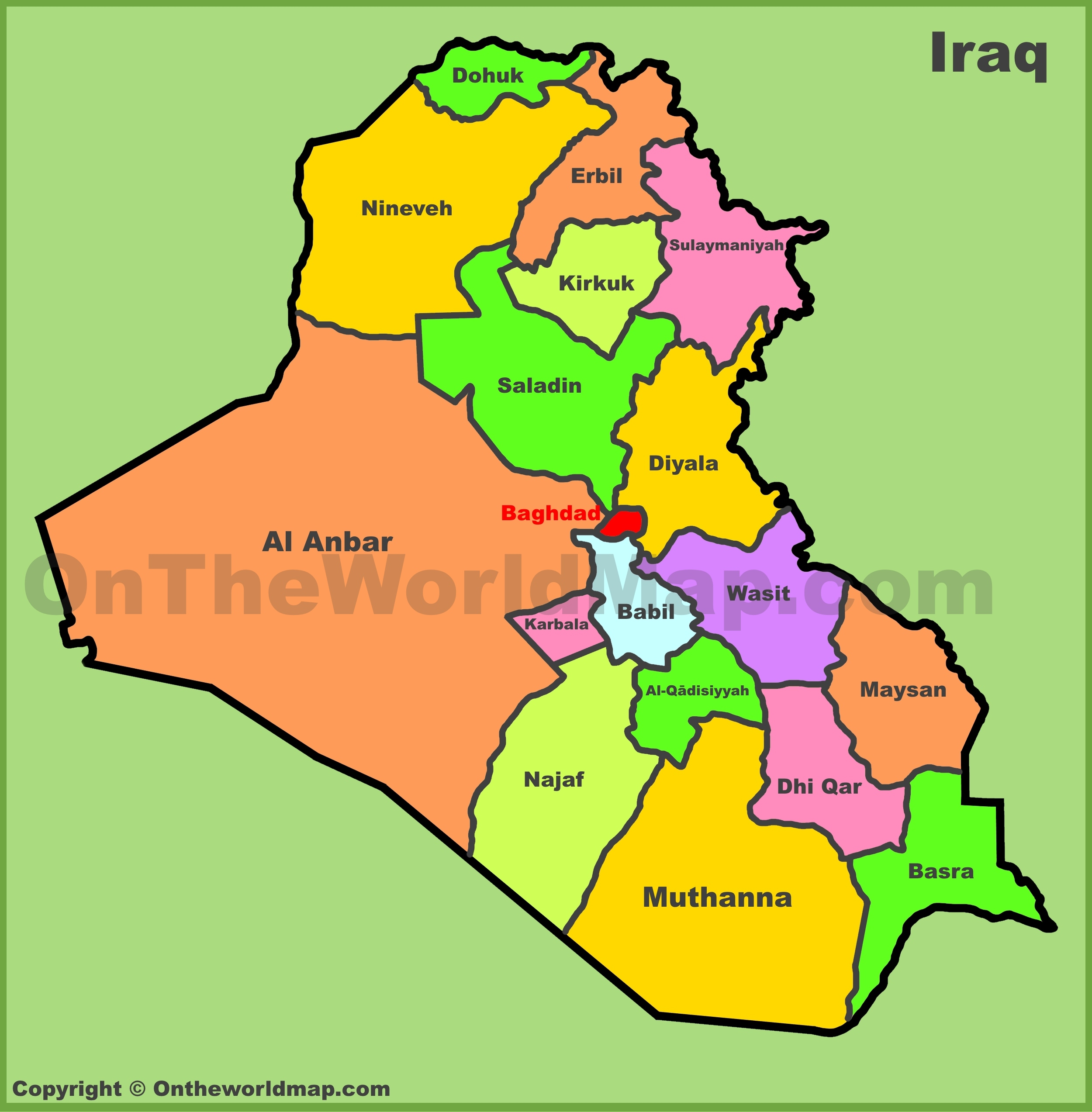 Map Of Iraq Administrative map of Iraq Map Of Iraq