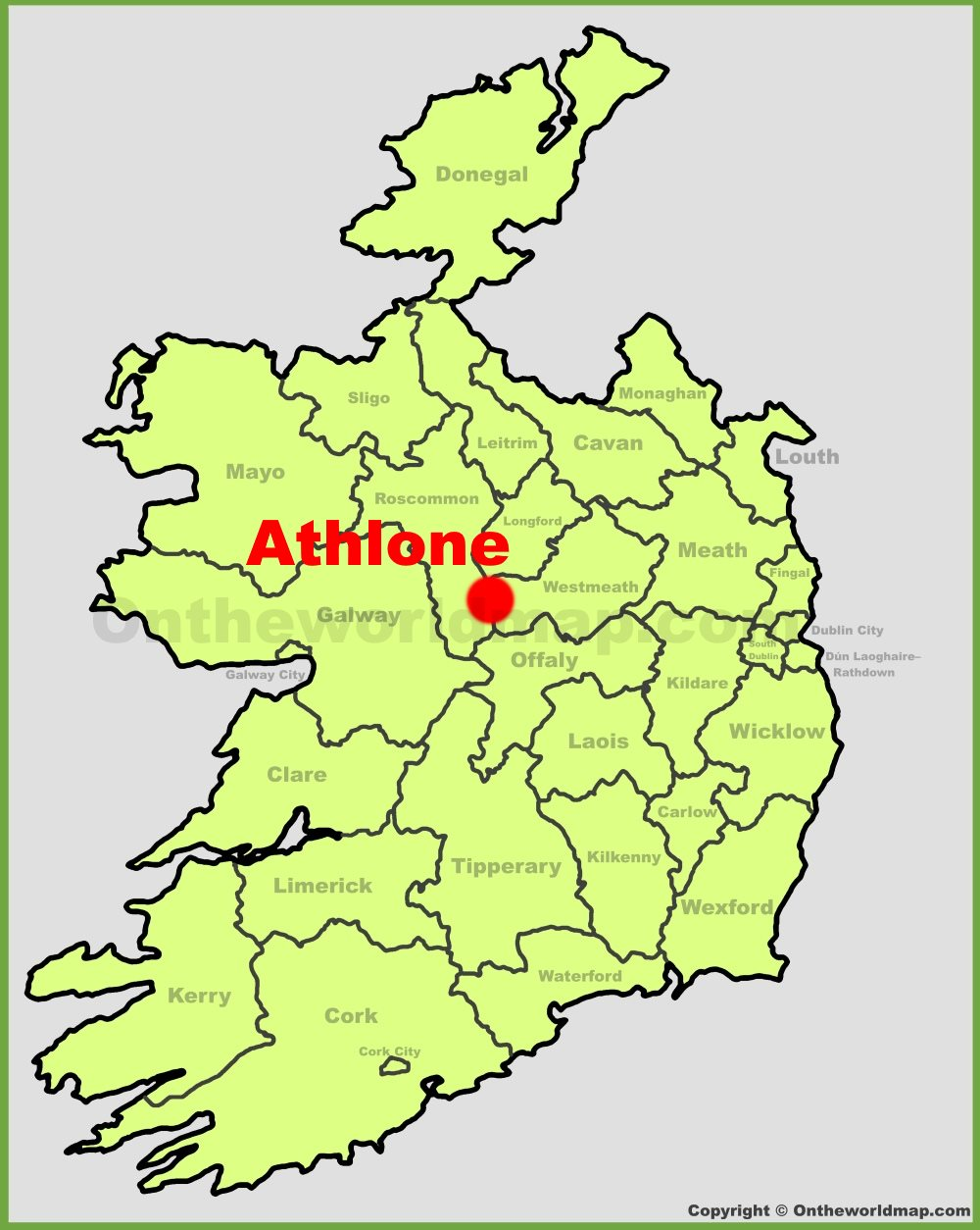 Map Of Ireland Showing Athlone.Athlone Location On The Ireland Map