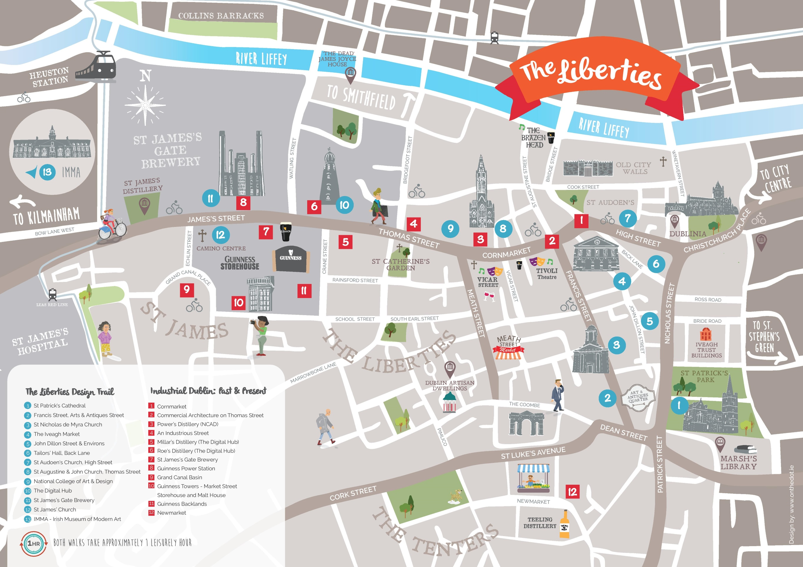 City Map Of Dublin Ireland.Dublin Libierties Tourist Attractions Map