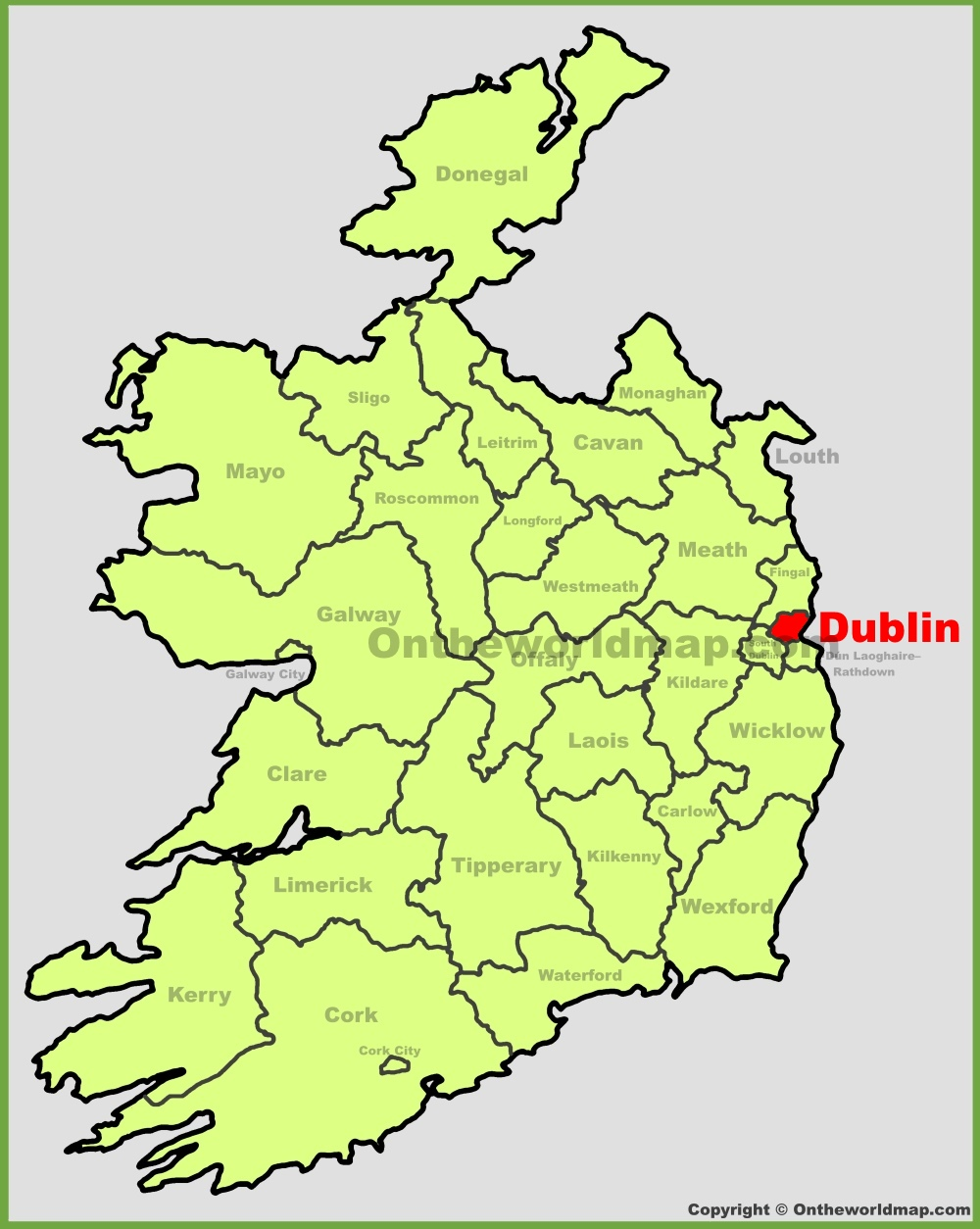 Dublin location on the Ireland map