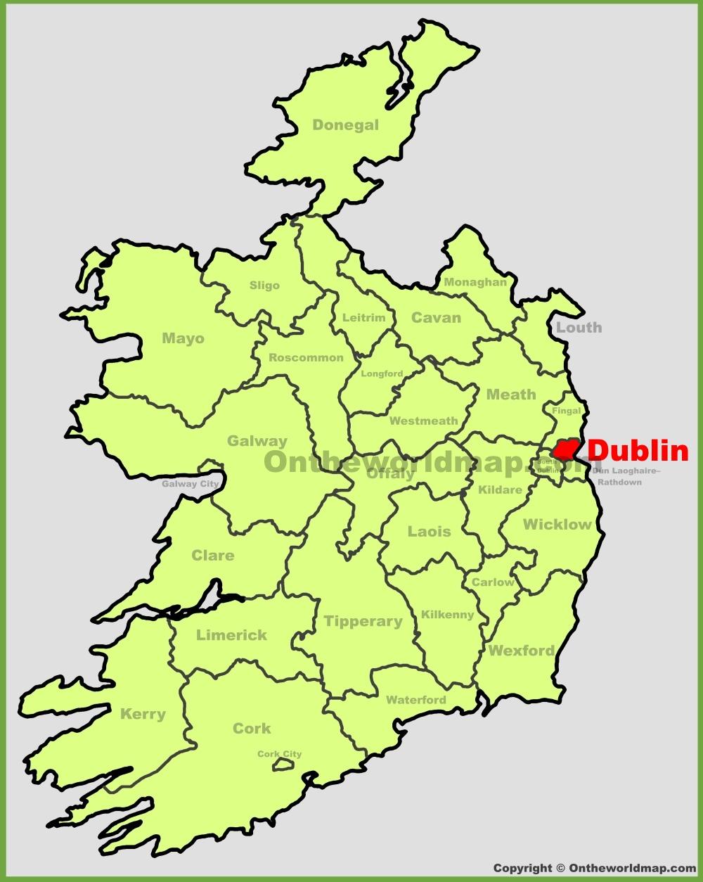 Dublin Ireland Map Dublin location on the Ireland map