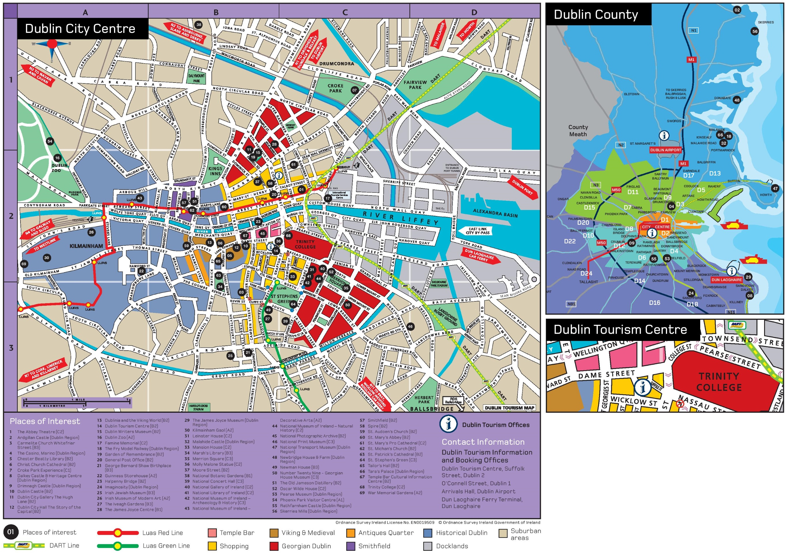 Map Of Dublin 6 Ireland.Dublin Sightseeing Map