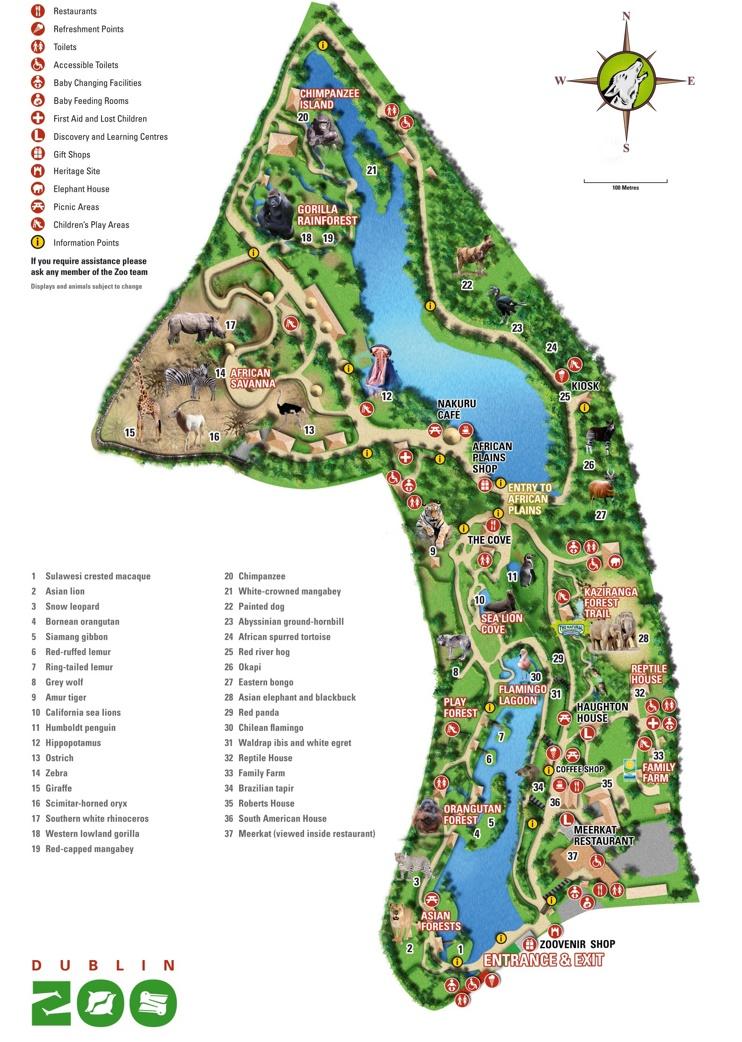 Dublin Zoo map