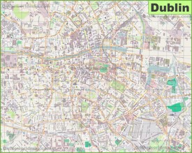 Large detailed map of Dublin