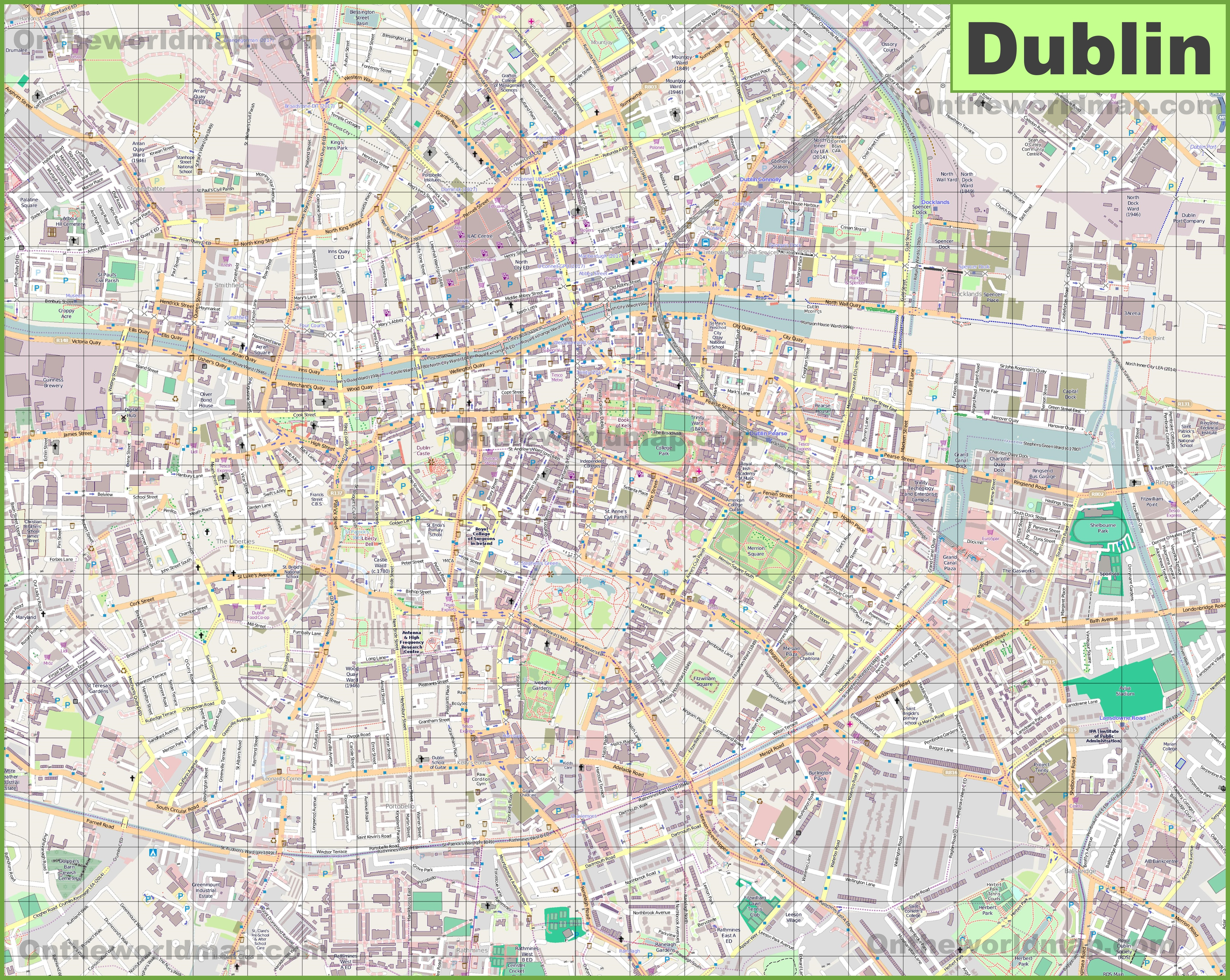 Map Of Dublin Large detailed map of Dublin Map Of Dublin