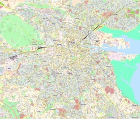 Large detailed tourist map of Dublin
