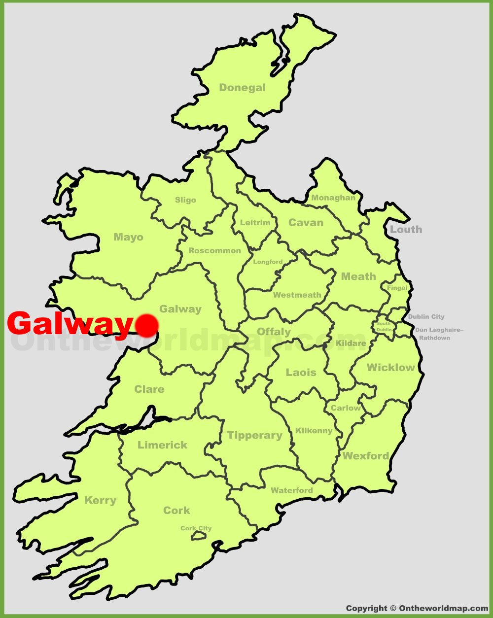 Galway On Map Of Ireland.Galway Location On The Ireland Map