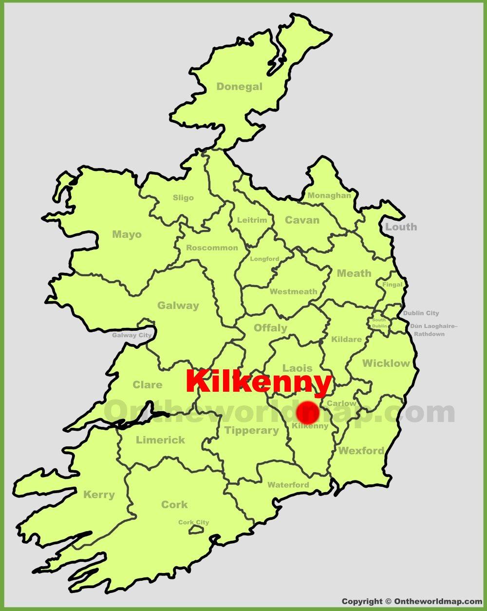 Map Of Ireland Showing Kilkenny.Kilkenny Location On The Ireland Map