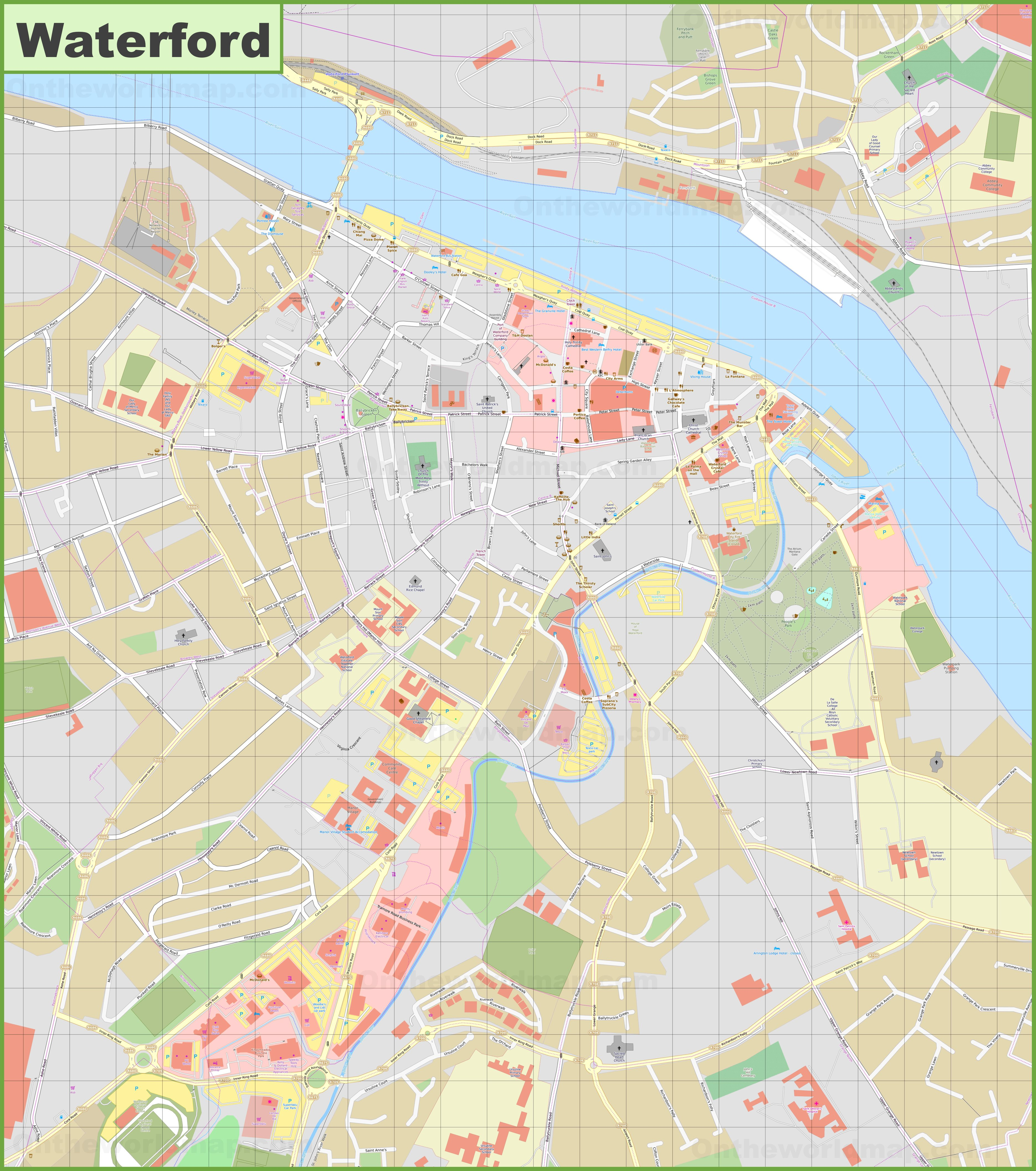 Map Of Waterford Ireland.Large Detailed Map Of Waterford