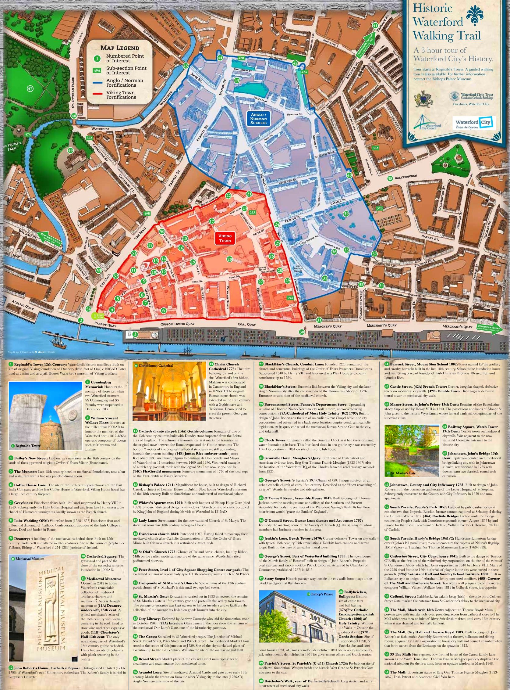 Map Of Waterford Ireland.Waterford Sightseeing Map