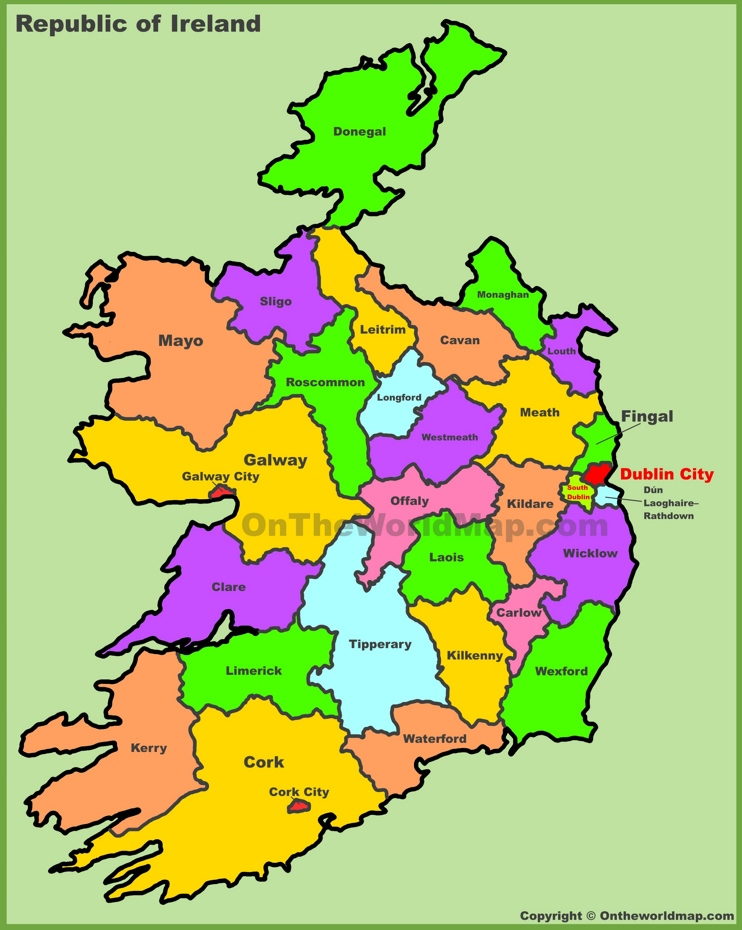 Counties map of Ireland