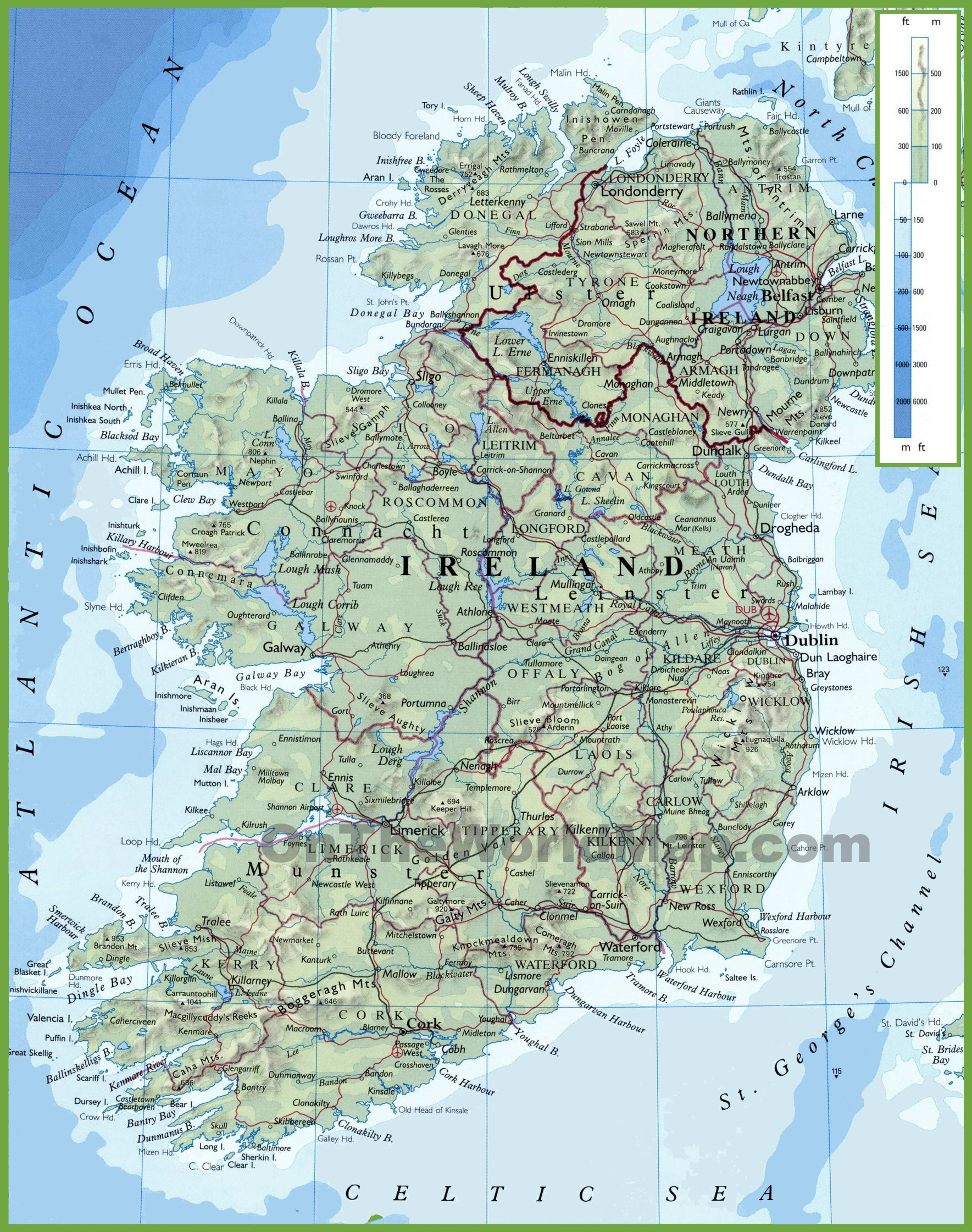 Large Map Of Ireland.Ireland Physical Map