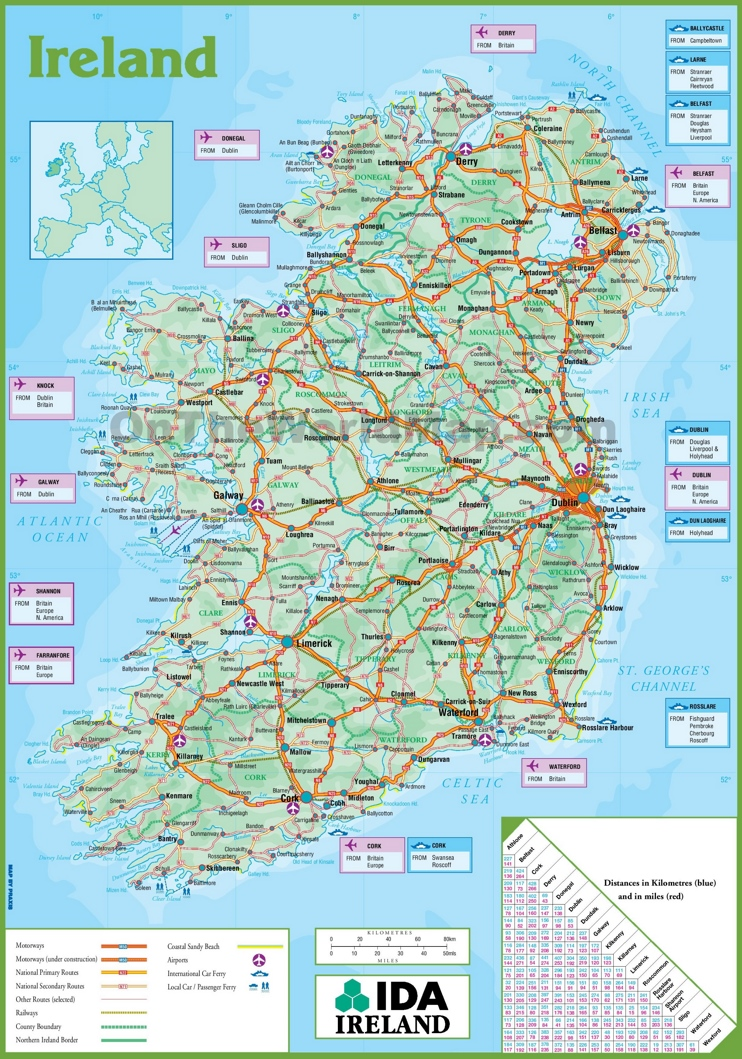 graphic regarding Printable Road Map of Ireland called Eire street map