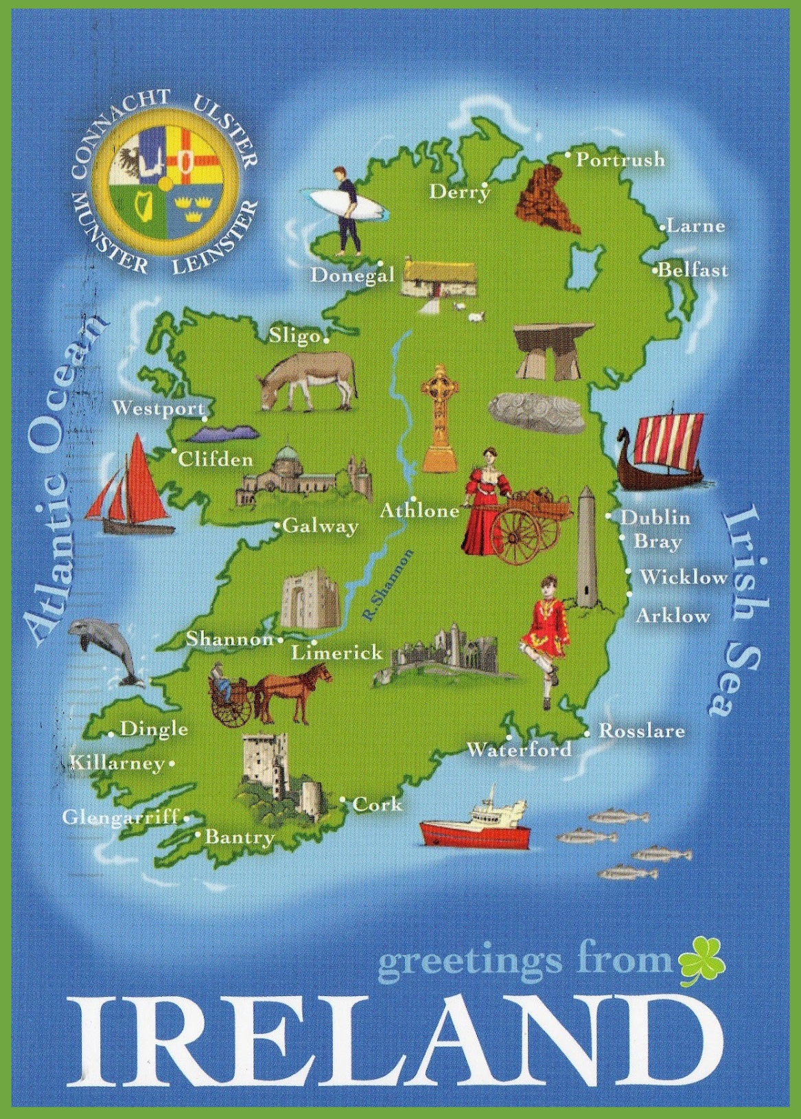 Map Of Ireland Showing Athlone.Ireland Tourist Map