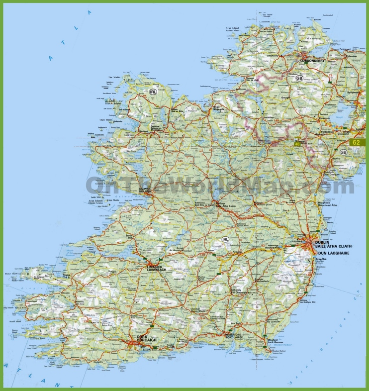 Large detailed map of Ireland with cities and towns