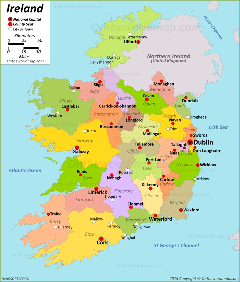 Road Map Of Ireland With Counties.Ireland Maps Maps Of Republic Of Ireland