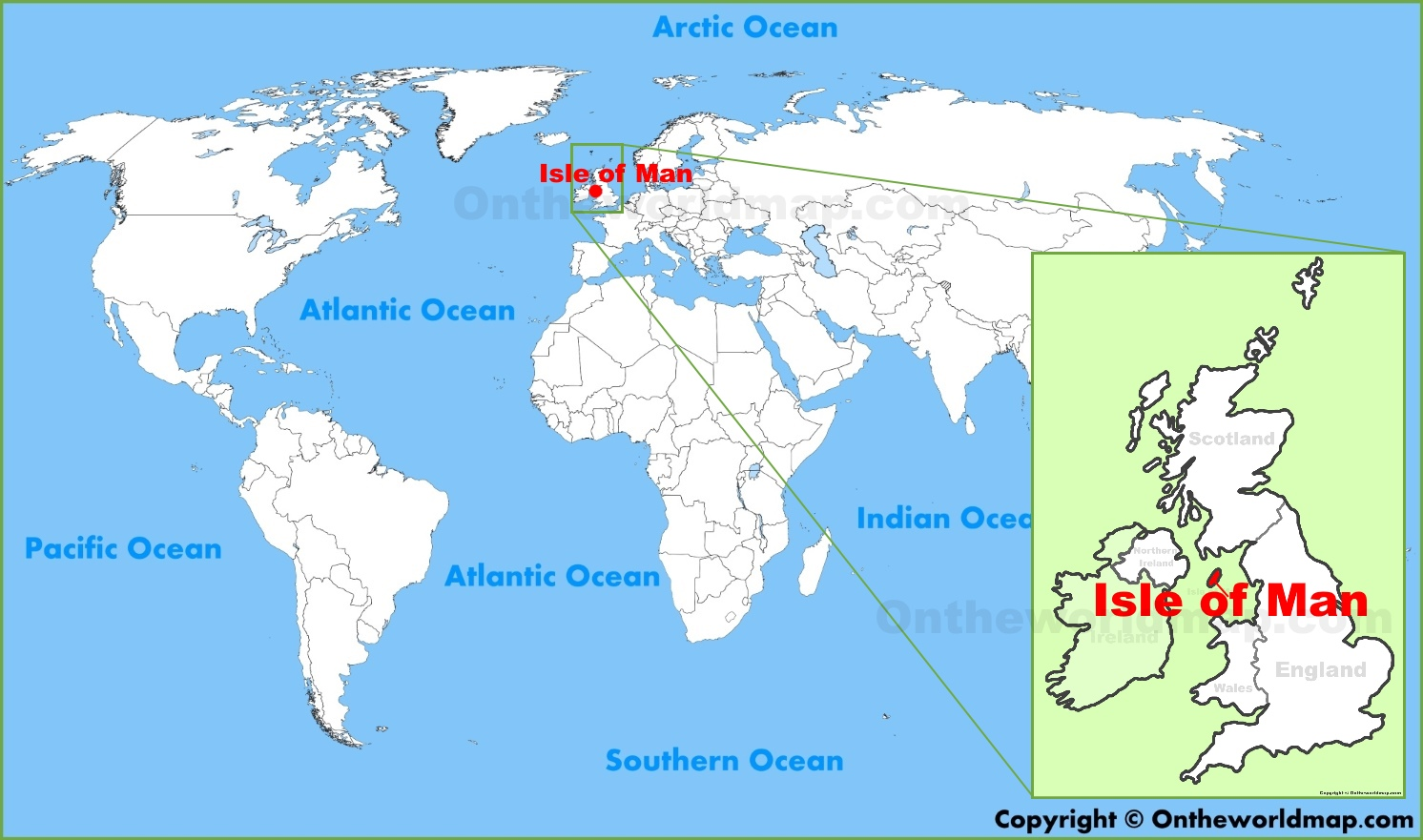Isle of Man location on the World Map