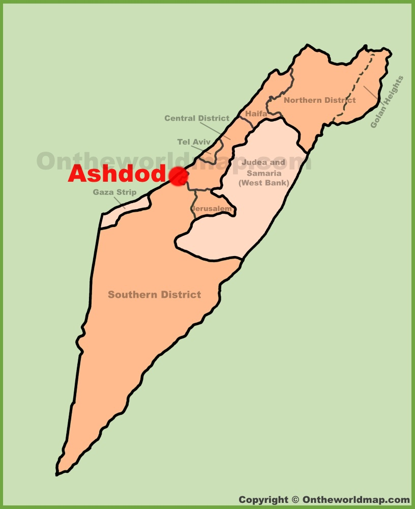 Ashdod location on the Israel Map