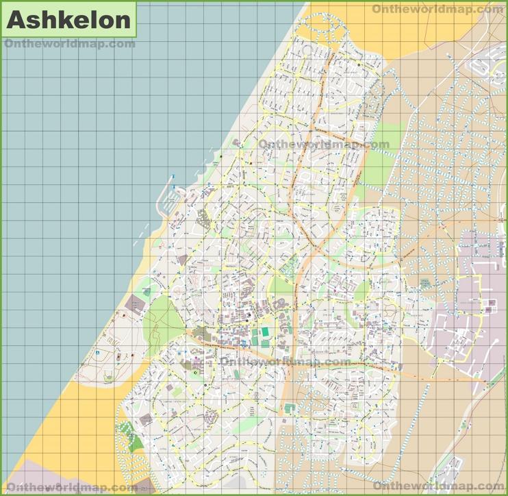 Large detailed map of Ashkelon