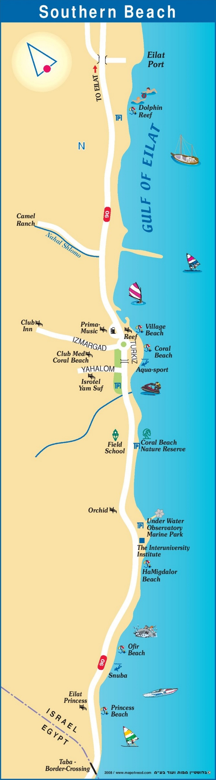 Eilat Southern Beach map