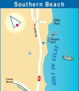 Eilat Southern Beach map