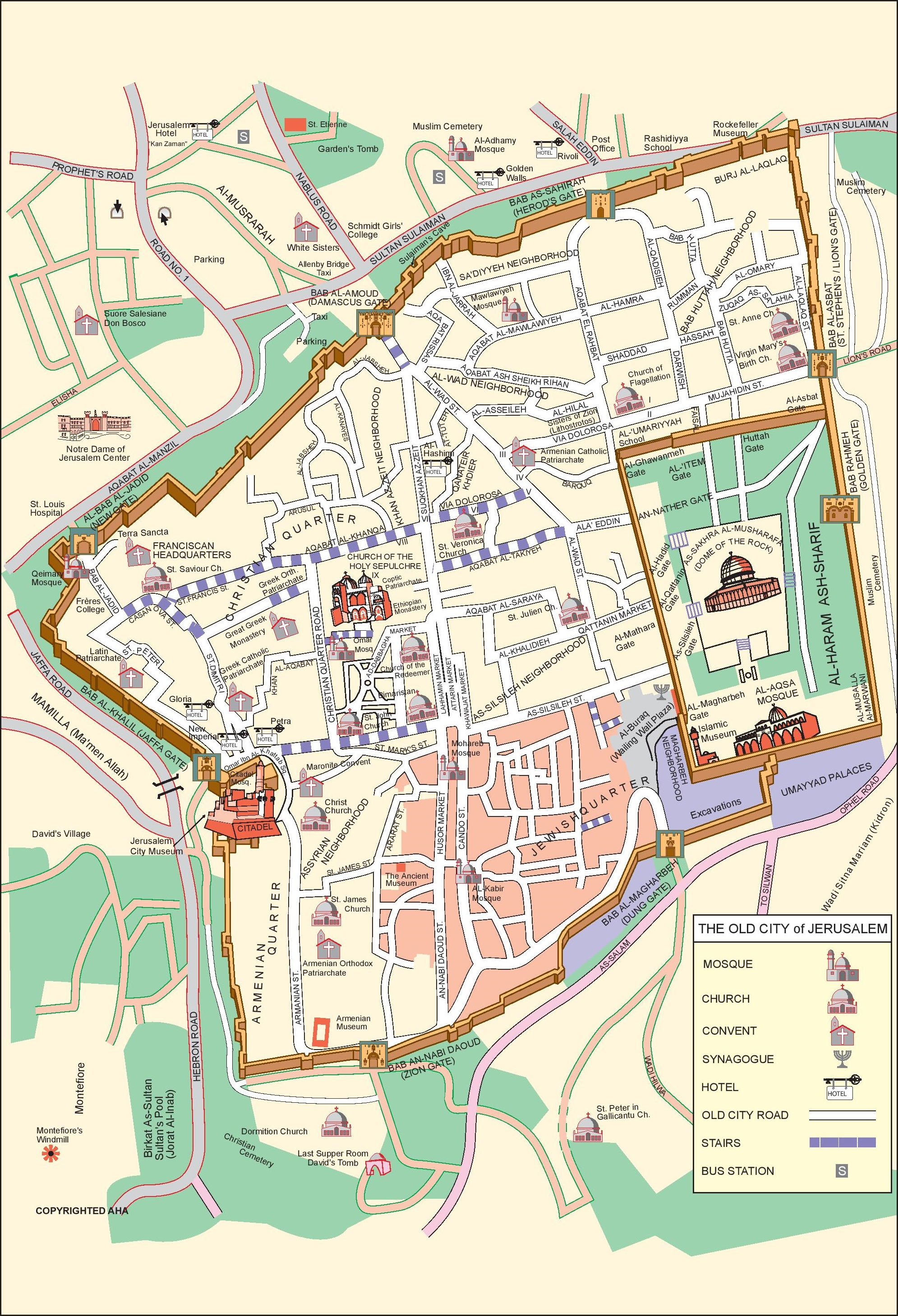Jerusalem City Center Map - Jerusalem on world map