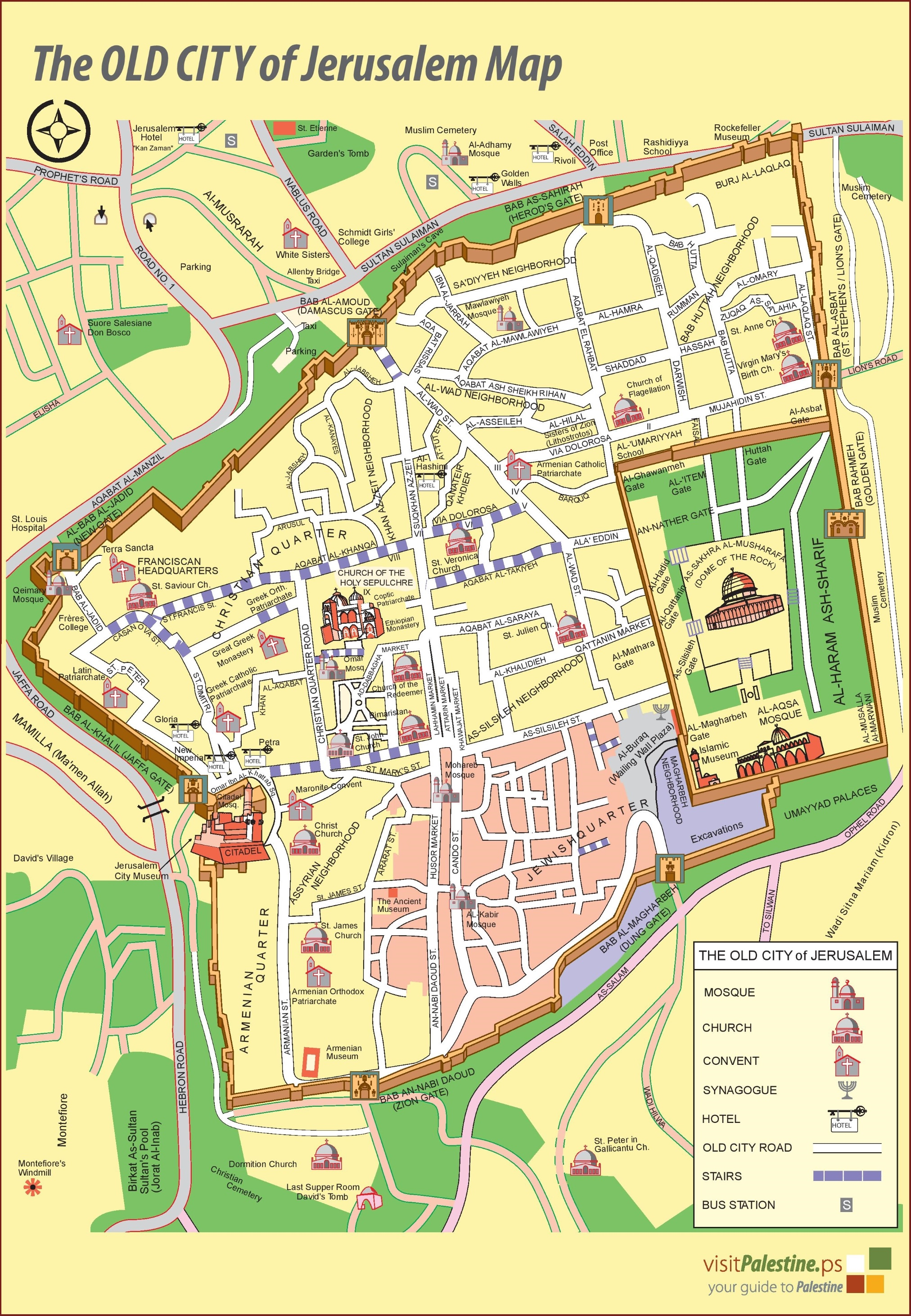 Jerusalem Old City Map - Jerusalem map world