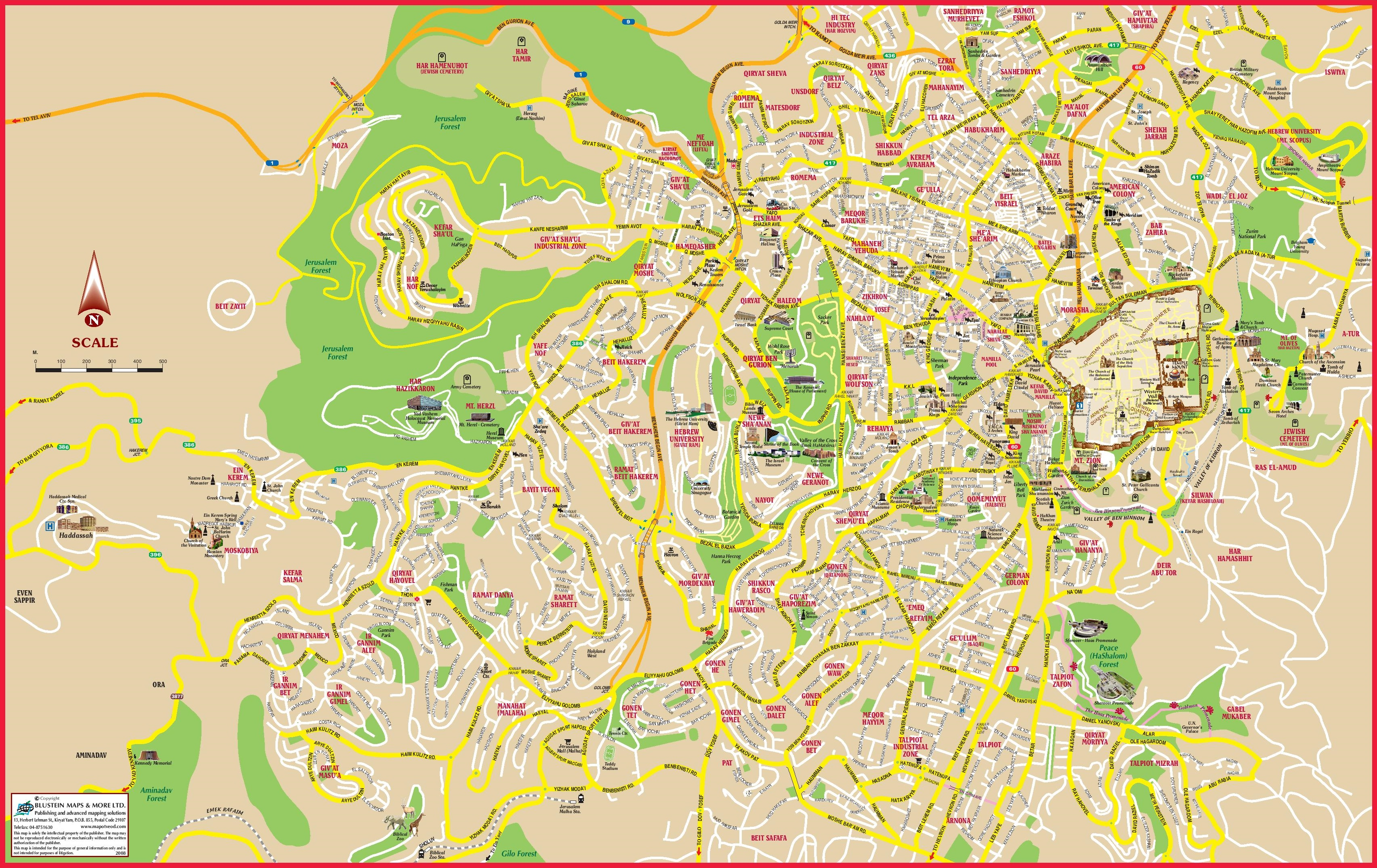 Jerusalem tourist attractions map – Jerusalem Tourist Map