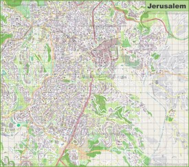 Large detailed map of Jerusalem