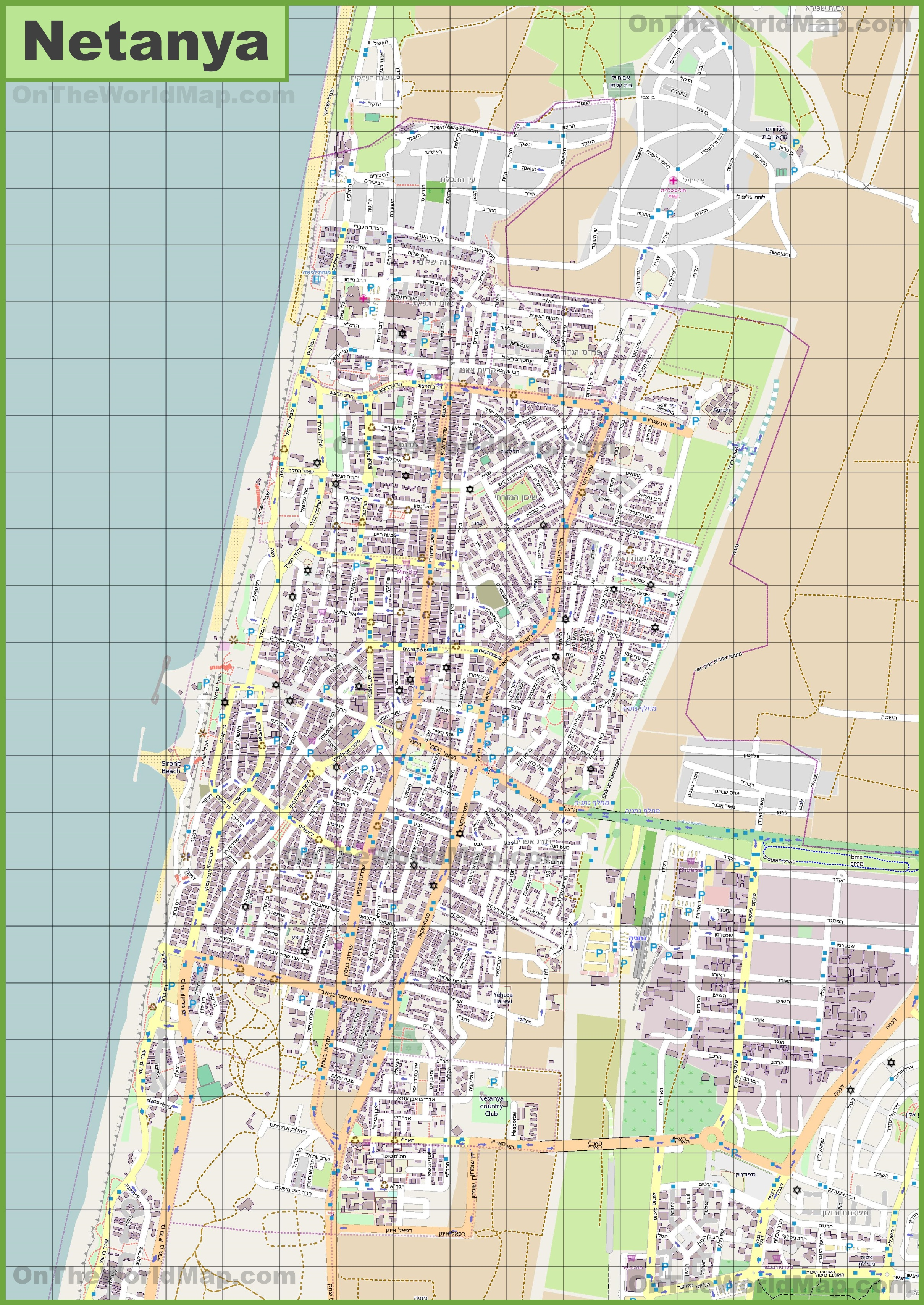 Large detailed map of Netanya