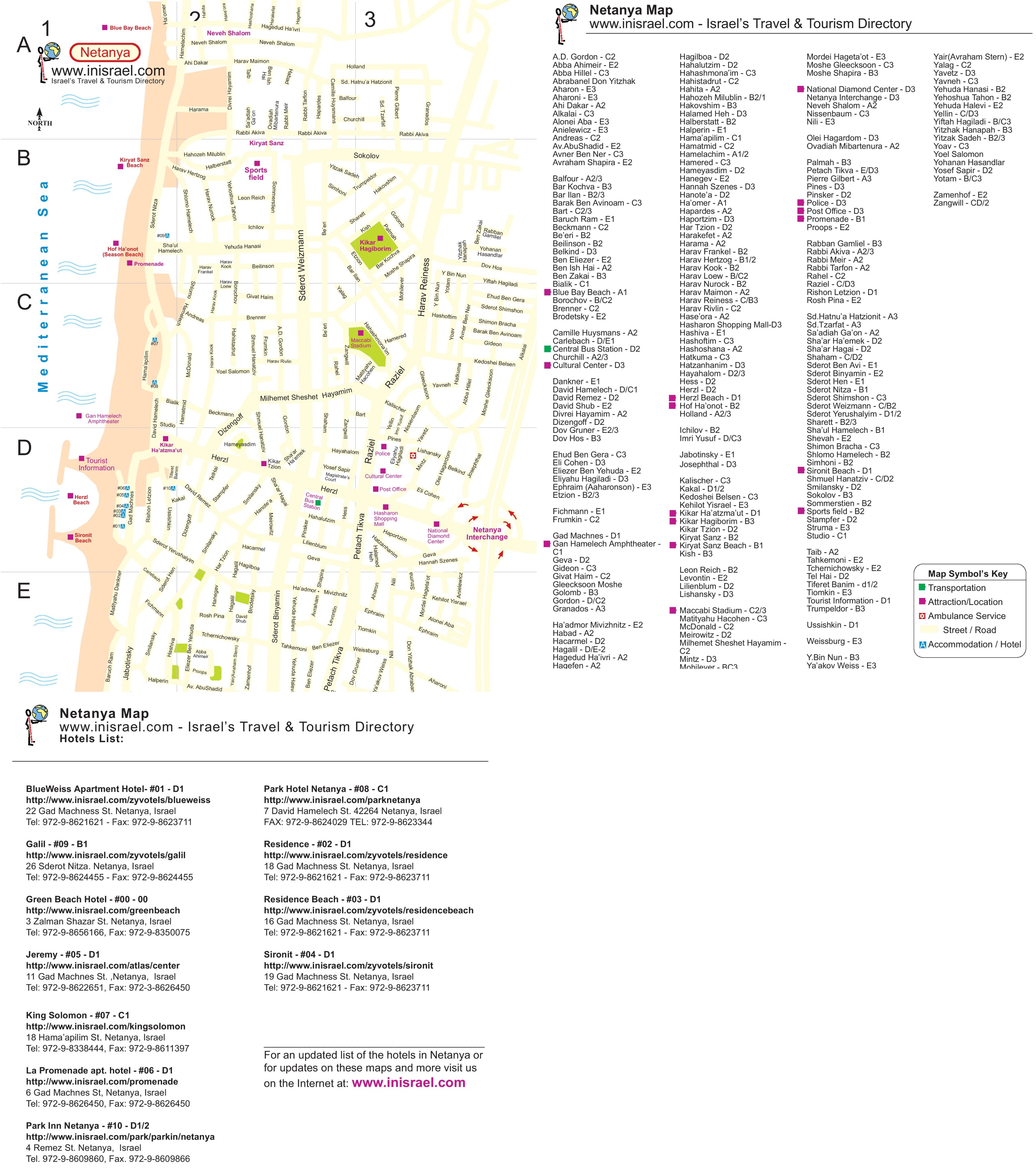 Netanya street map