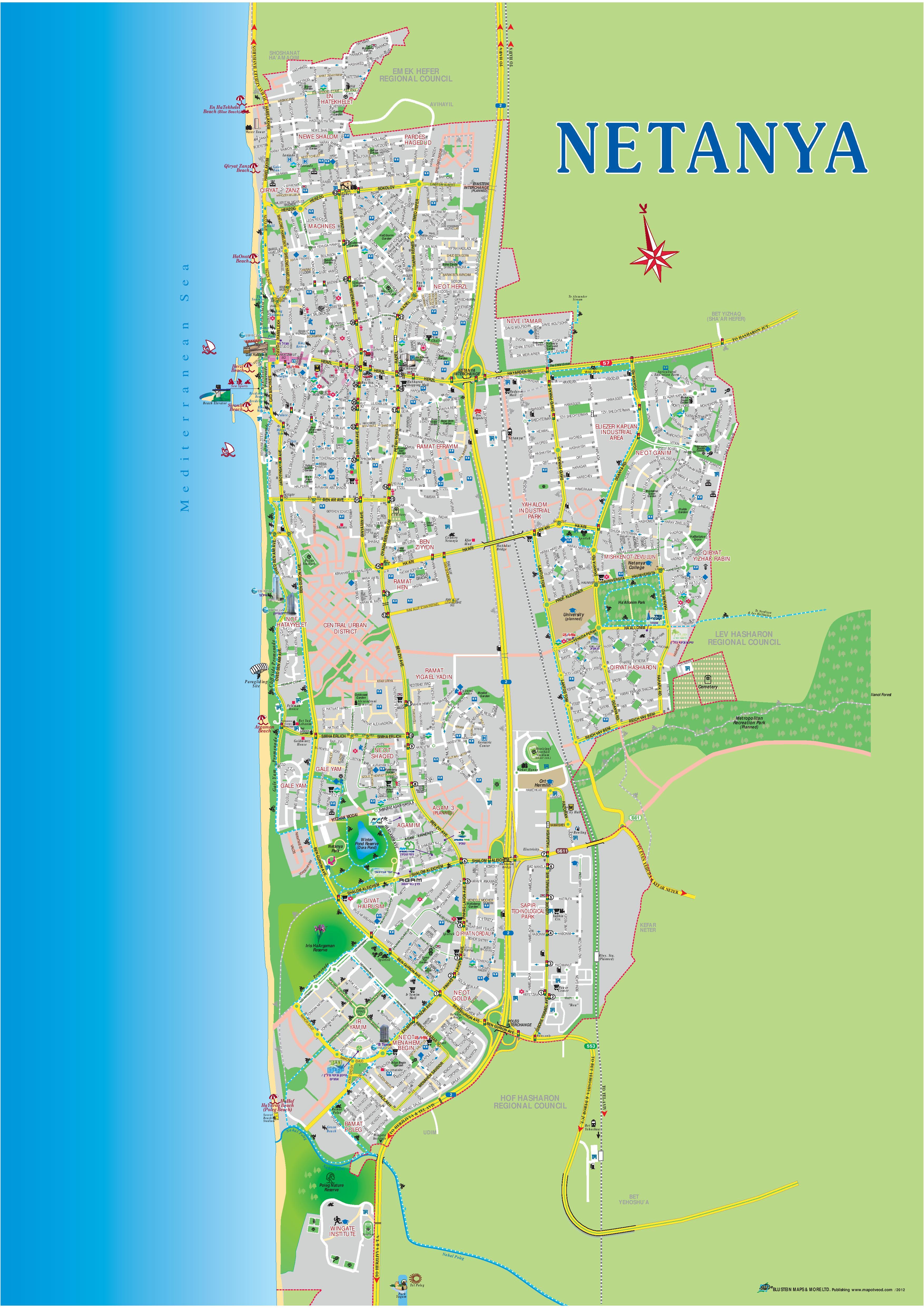 Netanya tourist map