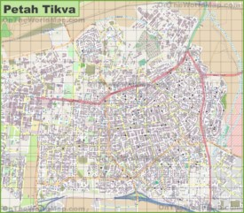 Large detailed map of Petah Tikva