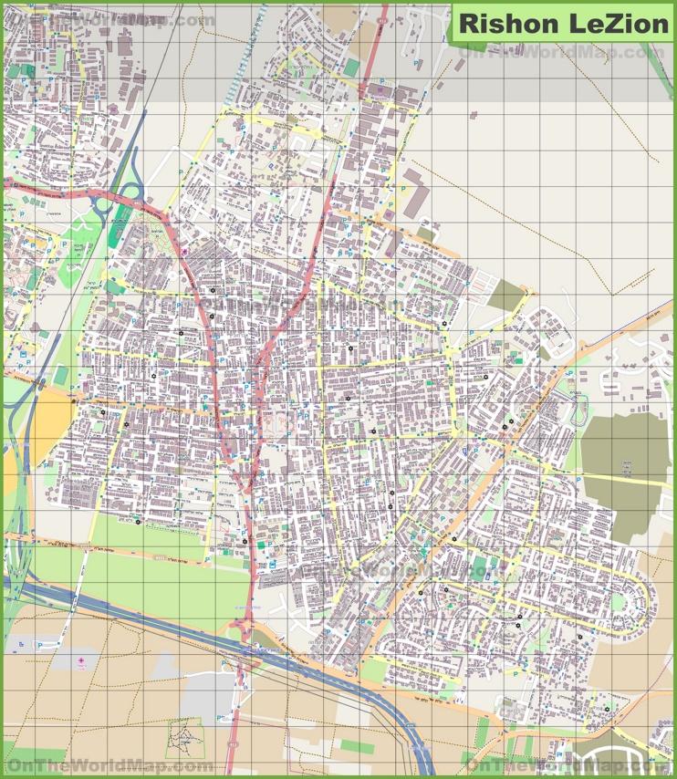 Large detailed map of Rishon LeZion