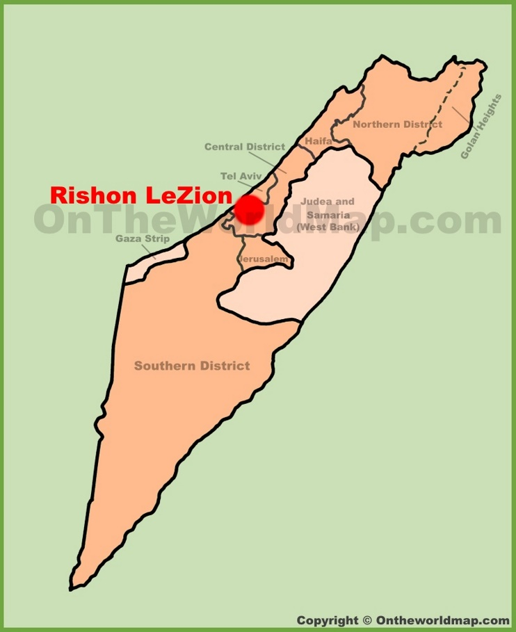 Rishon LeZion location on the Israel Map