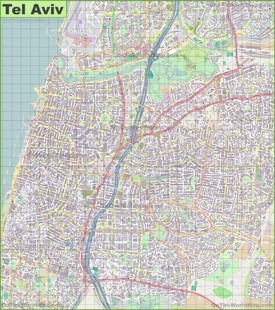 Large detailed map of Tel Aviv