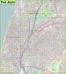 Large detailed map of Tel Aviv