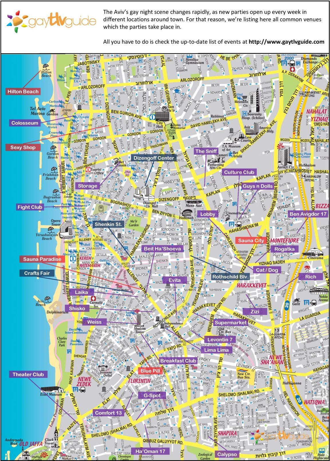 Map Of Tel Aviv Tel Aviv gay map Map Of Tel Aviv