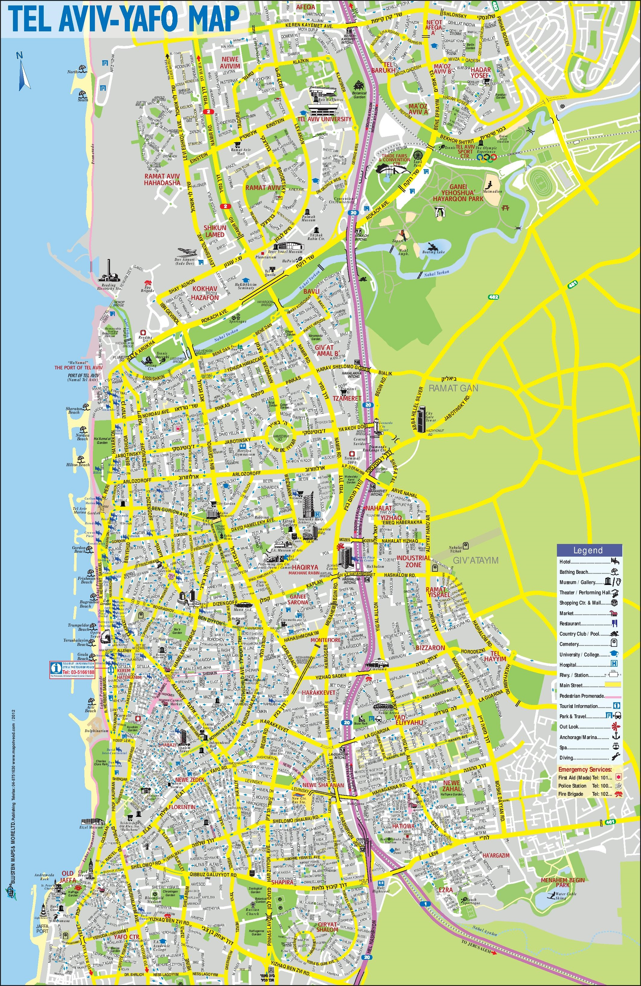 Map Of Tel Aviv Tel Aviv sightseeing map Map Of Tel Aviv