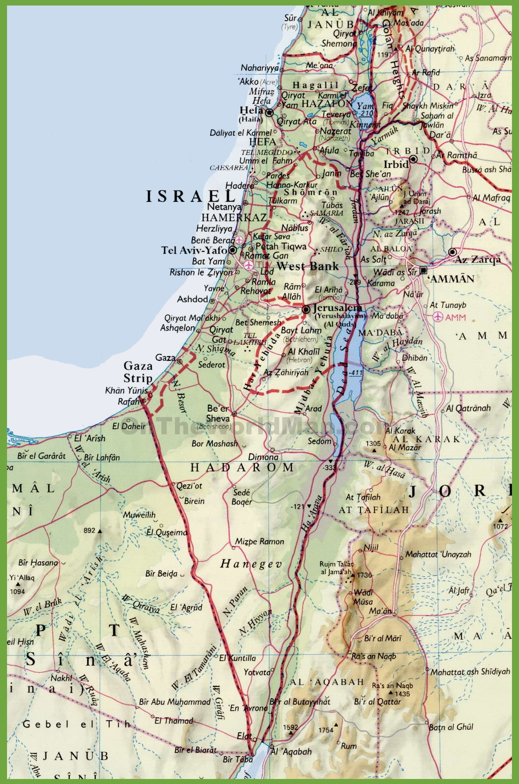 Detailed Map Of Israel With Cities - Isreal map