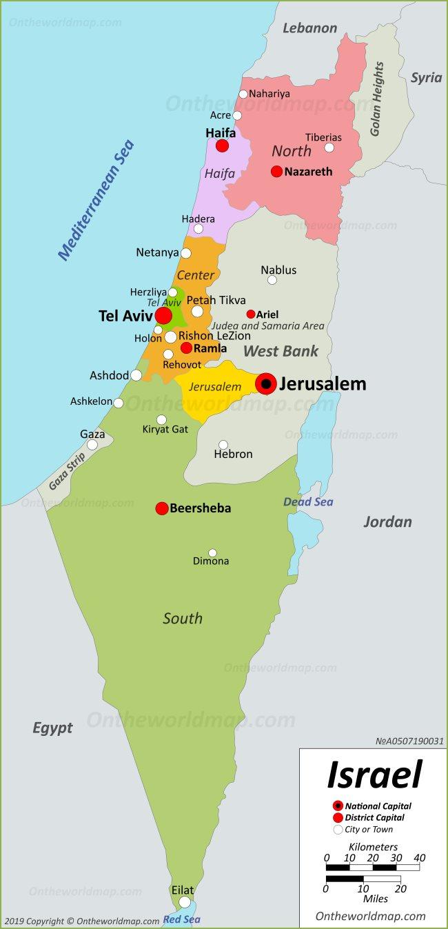 Israel Political Map - Israel map