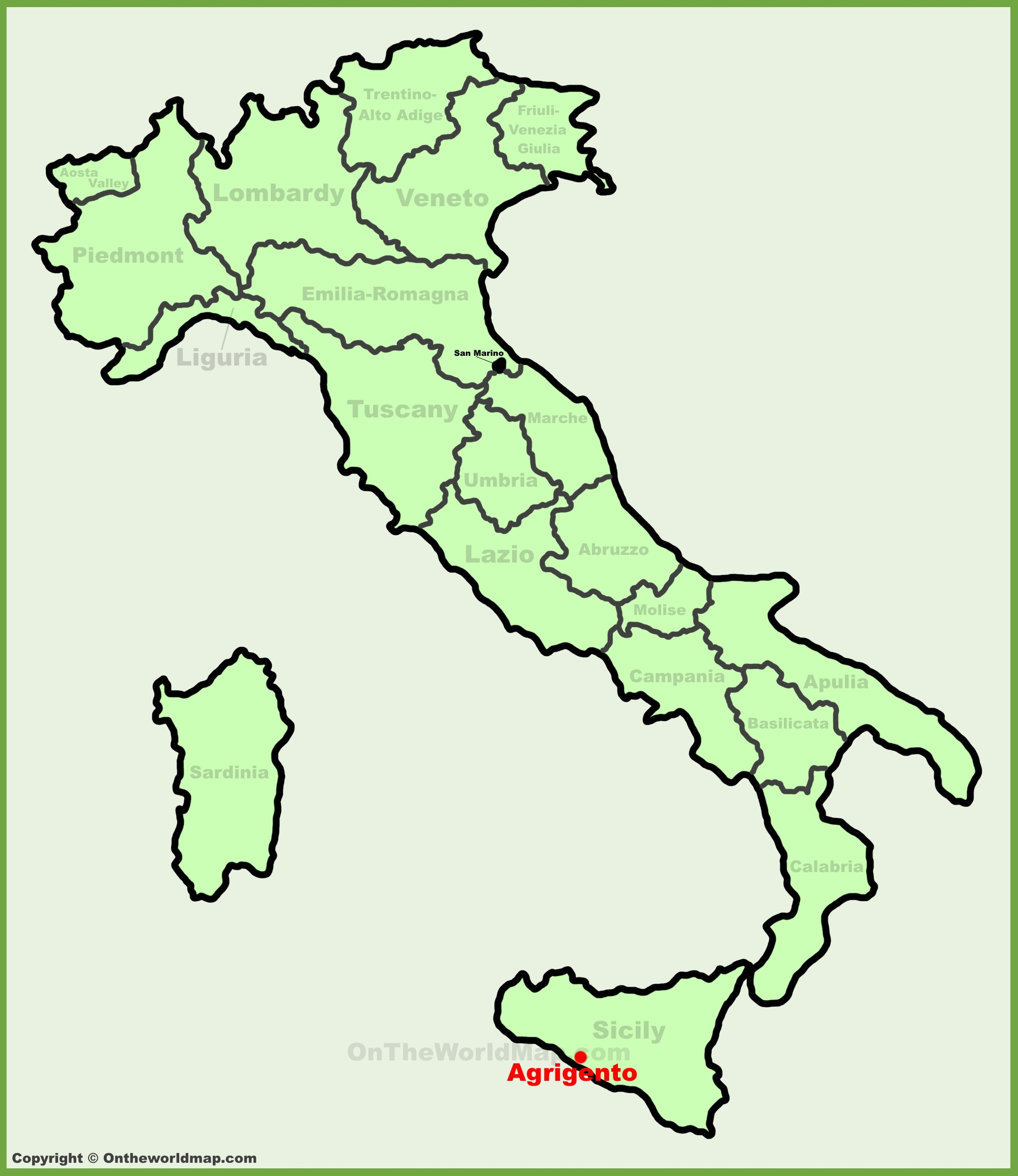 Agrigento location on the Italy map