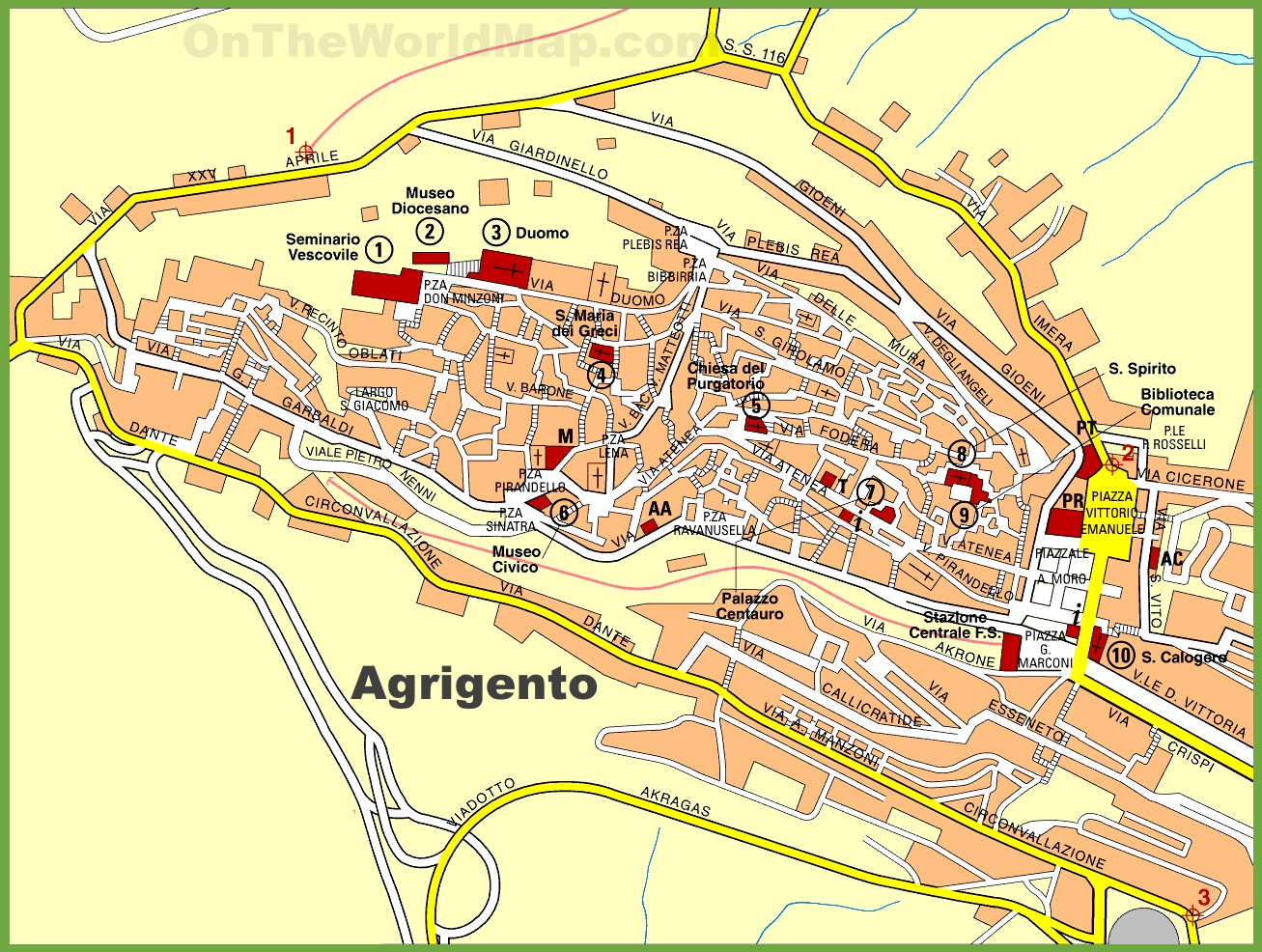 Agrigento sightseeing map