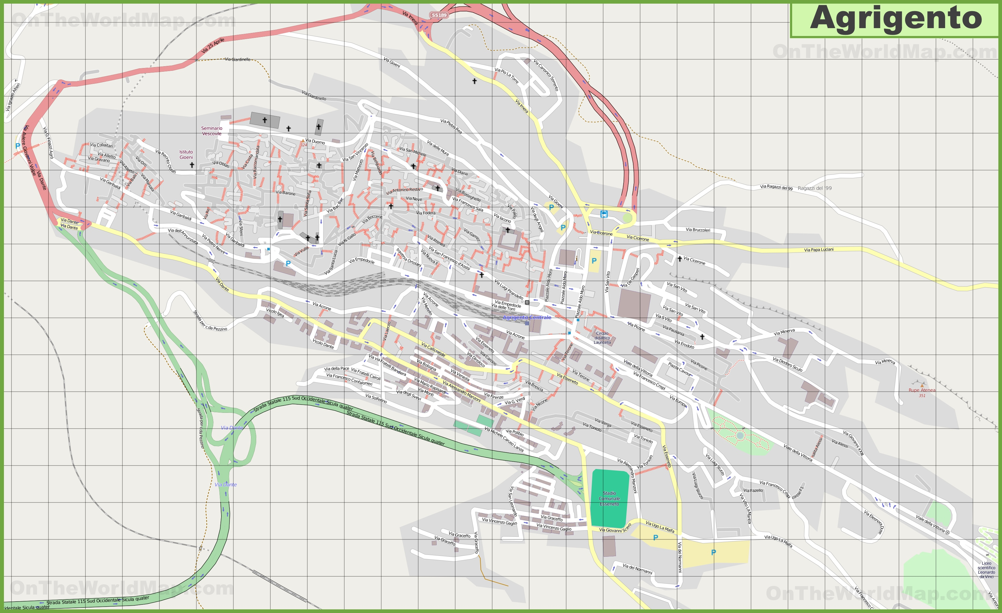 Large detailed map of Agrigento