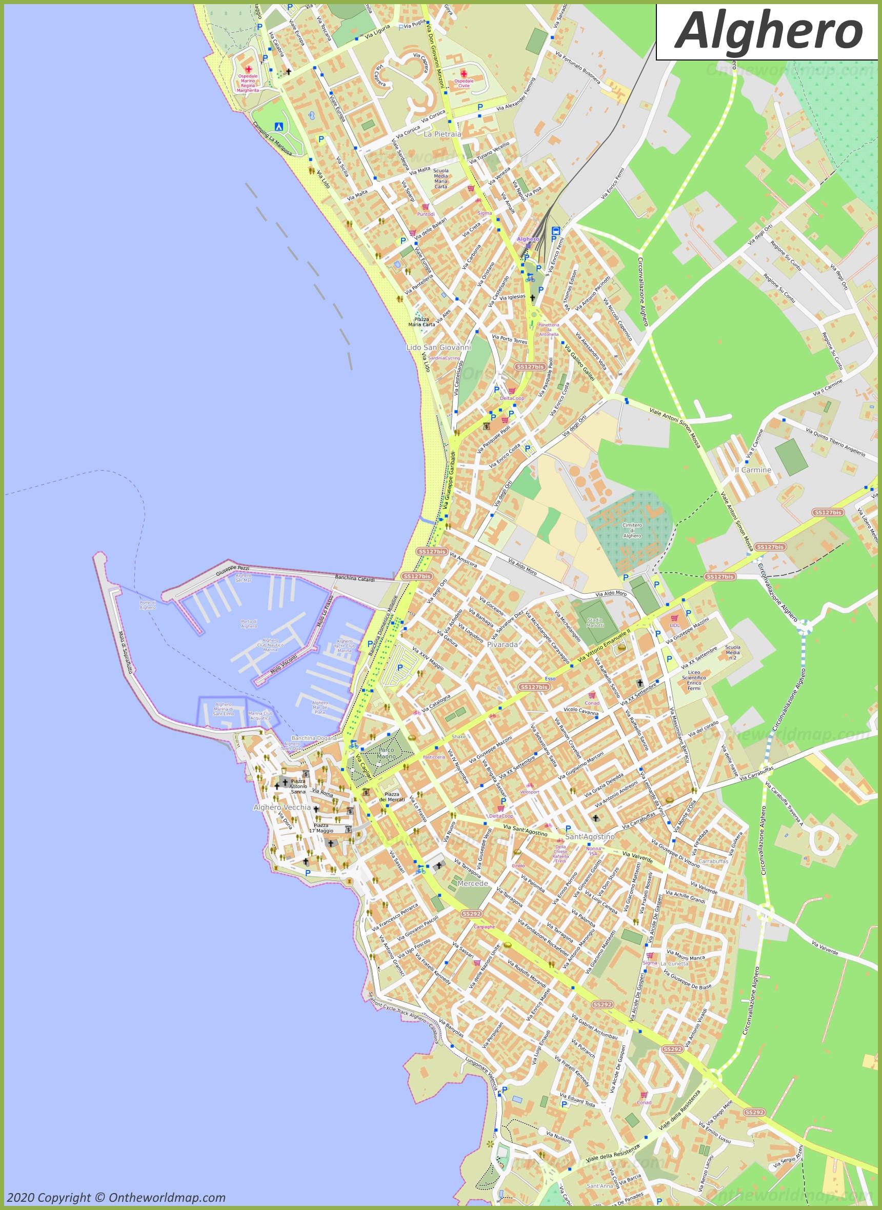 Cartina Italia Modificabile.Mappa Dettagliata Di Alghero