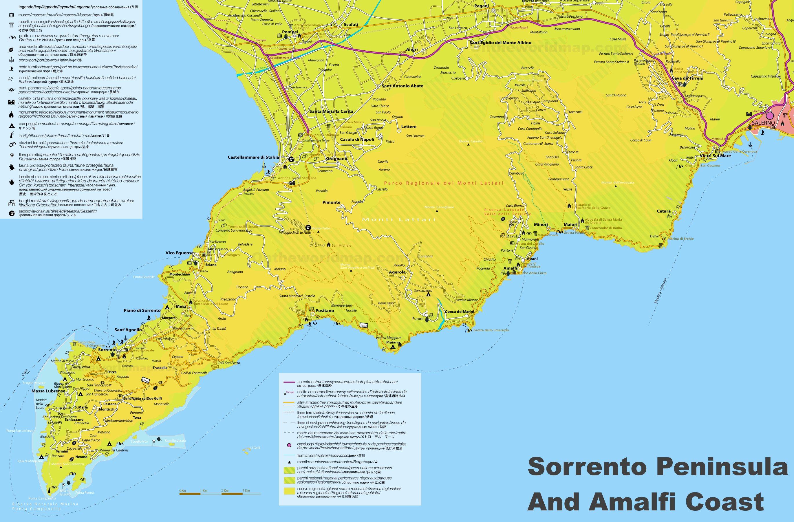 Tour Costiera Amalfitana Cartina.Costiera Amalfitana Mappa Turistica