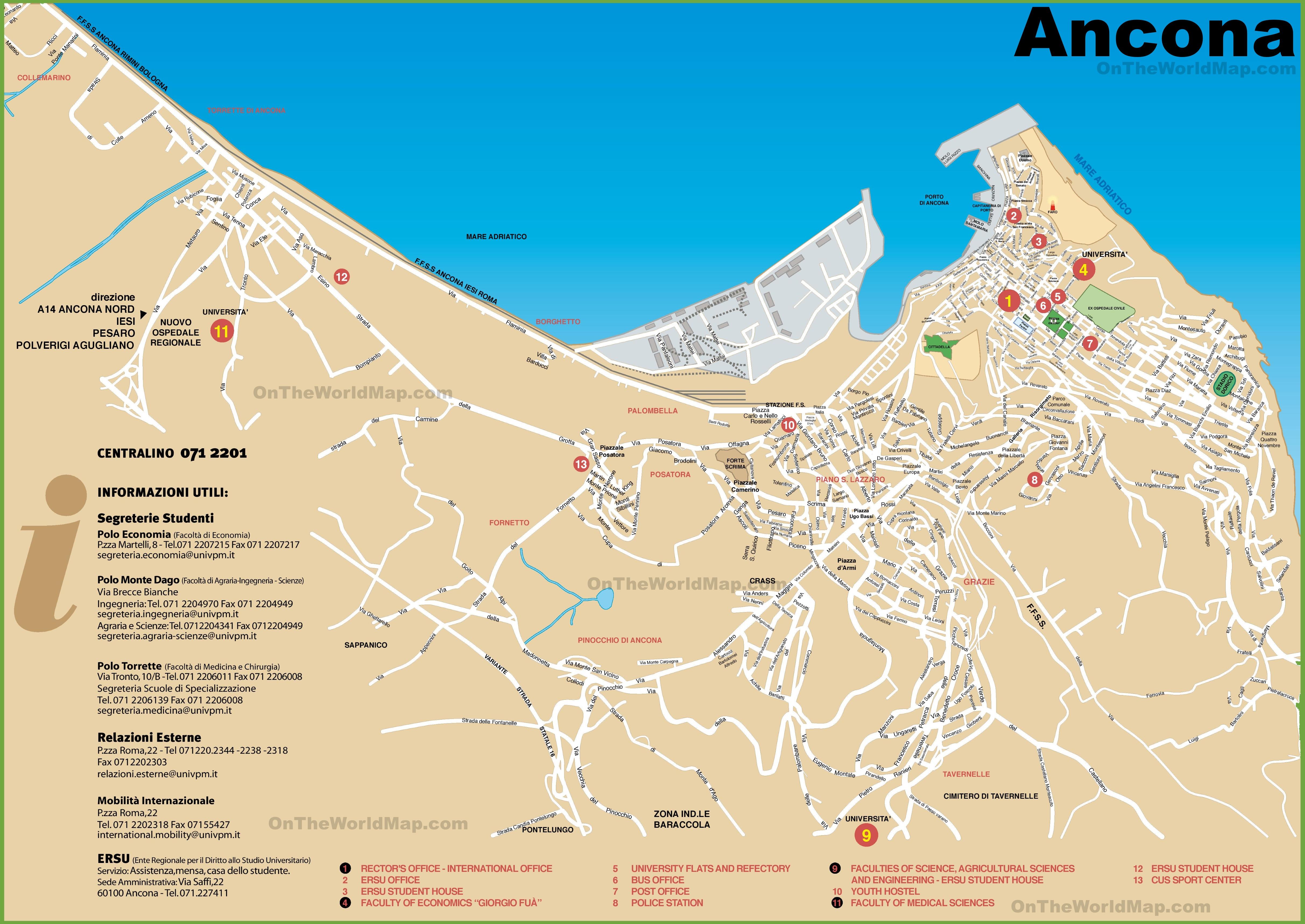 Ancona Tourist Map - Map of ancona italy