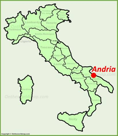Andria location on the Italy map