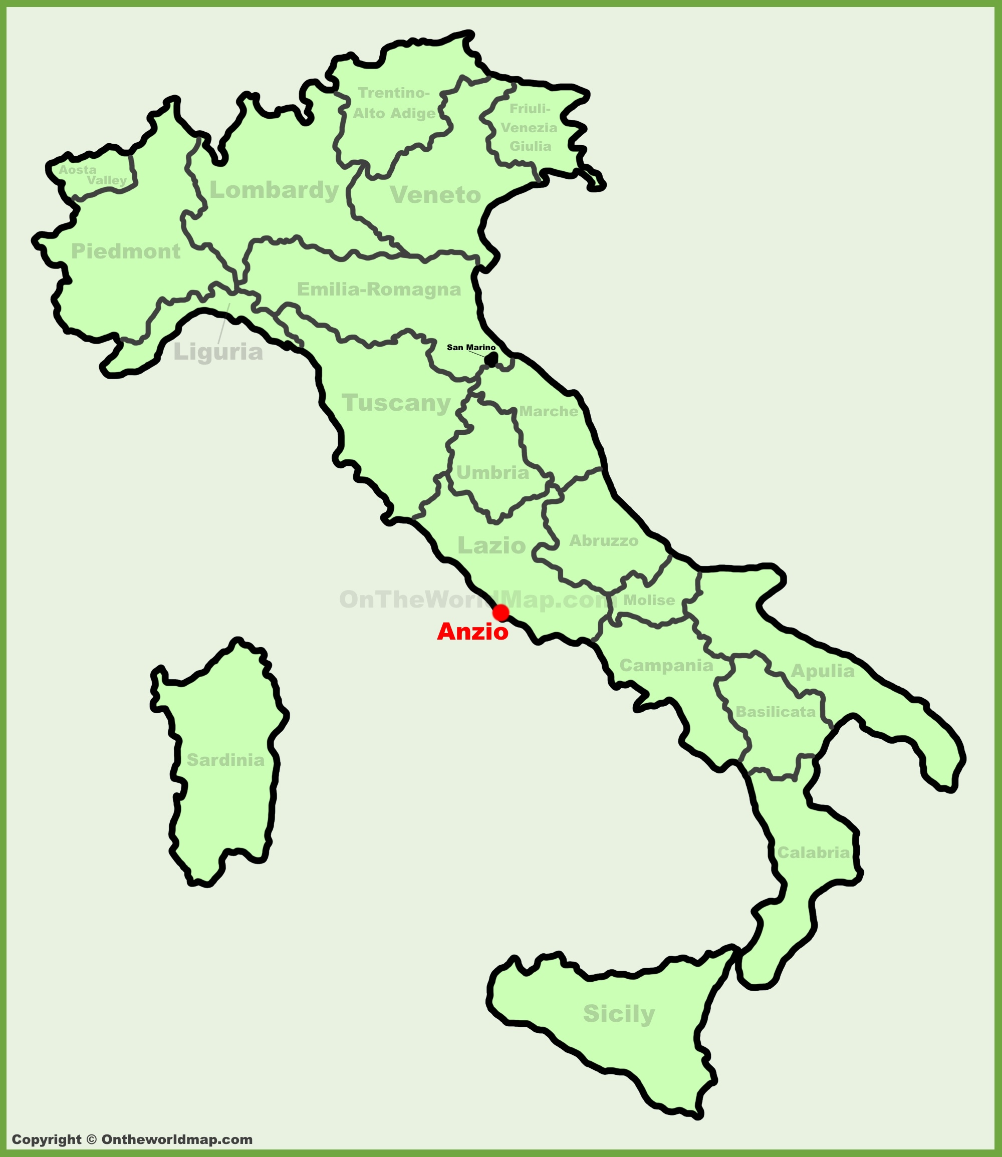Anzio location on the Italy map