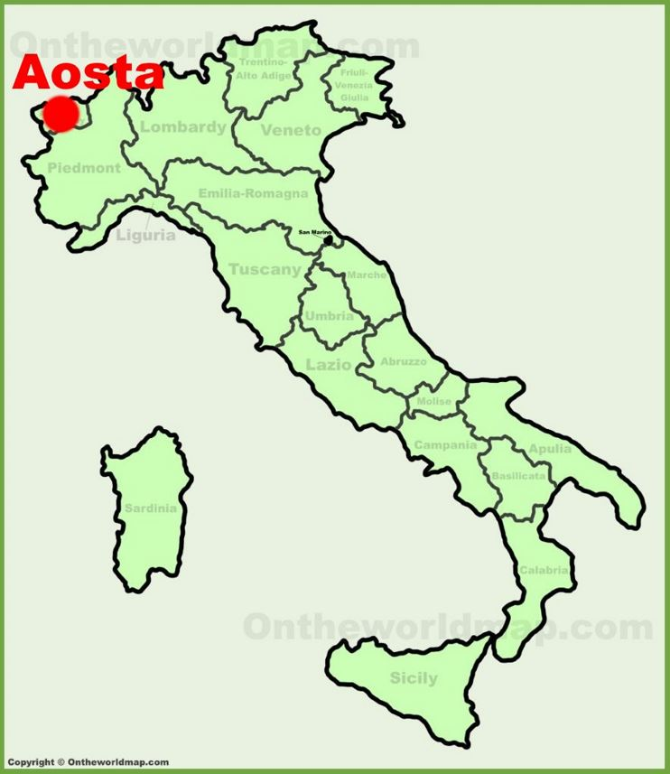 Aosta location on the Italy map